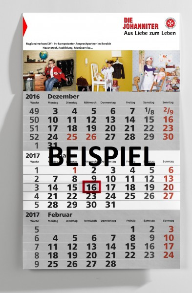 3-Monats-Kalender individuell gestalten