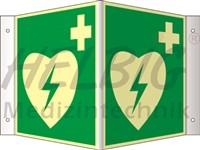 Winkelschild langnachleuchtend AED, 20cm x 20cm, Kunststoff