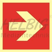 Brandschutzzeichen Richtungspfeil 20 x 20 cm Kunststoff langnachleuchtend