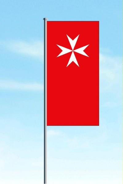 Hissflagge rot mit Ausleger mit neutraler Johanniter Wort - und Bildmarke