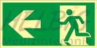 Rettungsweg links 20x40 cm Kunststoff Rettungszeichen langnachleuchtend