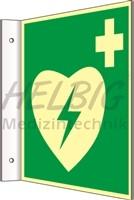 Fahnenschild langnachleuchtend AED, 20 x 20cm, Kunststoff