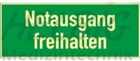 """Rettungszeichen """"Notausgang freihalten"""" - langnachleuchtend 10,5 x 29,7 cm"""