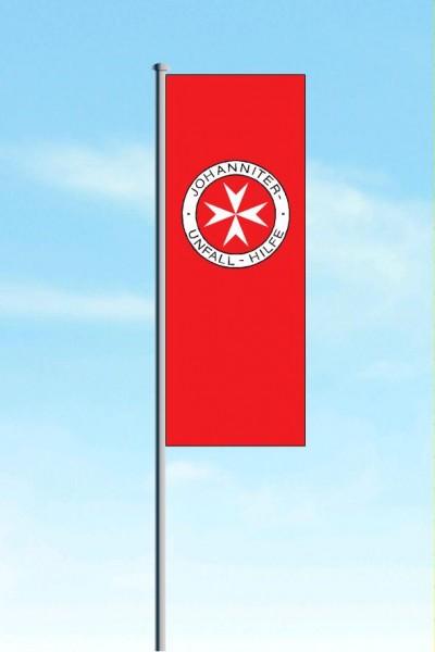 Hissflagge JUH rot mit Auslegerkonfektion
