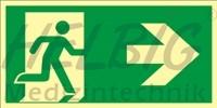 Rettungsweg rechts 20x40 cm Kunststoff Rettungszeichen langnachleuchtend