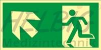 Rettungsweg links aufwärts 20 x 40 cm Rettungszeichen langnachleuchtend