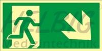 Rettungsweg rechts abwärts 20 x 40 cm Rettungszeichen langnachleuchtend
