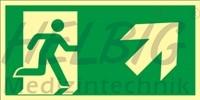 Rettungsweg rechts aufwärts 20 x 40 cm Rettungszeichen langnachleuchtend