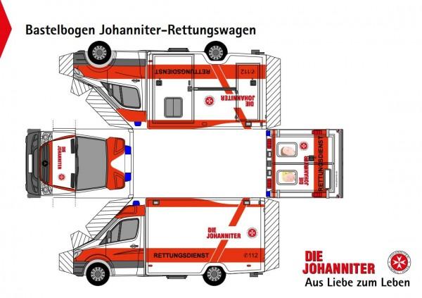Bastelbögen Rettungswagen zum Ausdrucken (Downloadbereich)