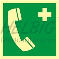 Rettungszeichen Notruftelefon langnachleuchtend 20 x 20 cm Kunststoff