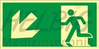 Rettungsweg links abwärts 20 x 40 cm Rettungszeichen langnachleuchtend